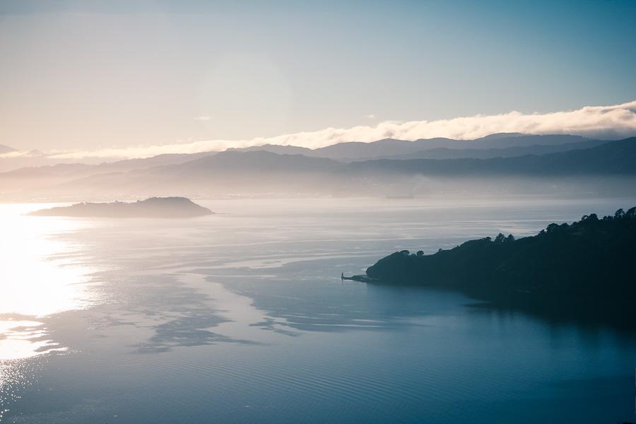 Photo of the sunrise over the foggy Wellington bay